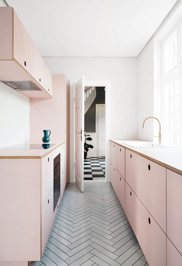 Thiết kế không gian bếp tông hồng nhẹ nhàng