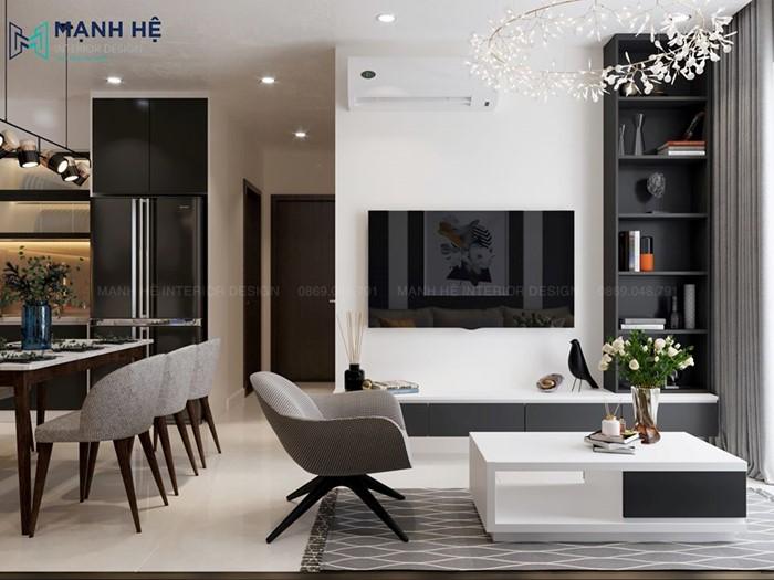 bộ bàn trà và kệ tivi phòng khách