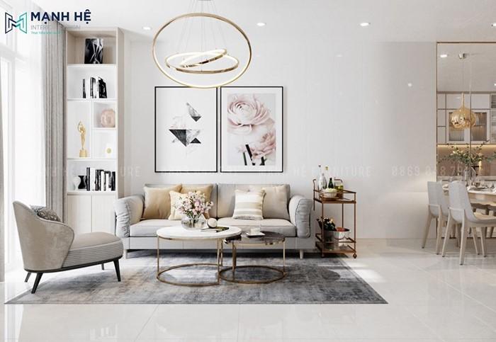 Ghế sofa chữ I đơn giản phòng khách