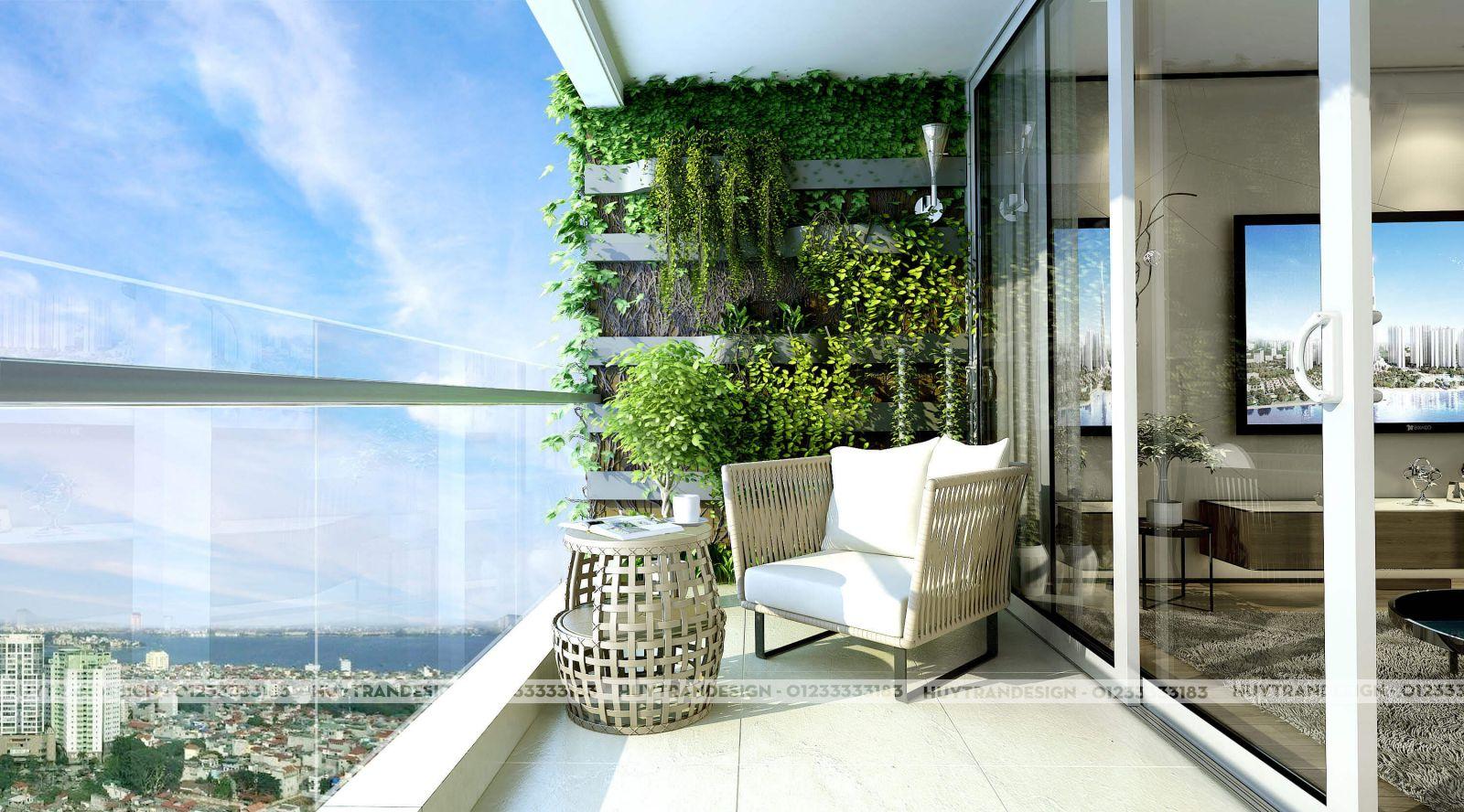 Thiết kế ban công đẹp hợp phong thuỷ cho nhà chung cư tài lộc thịnh vượng Long Biên, Hà Nội