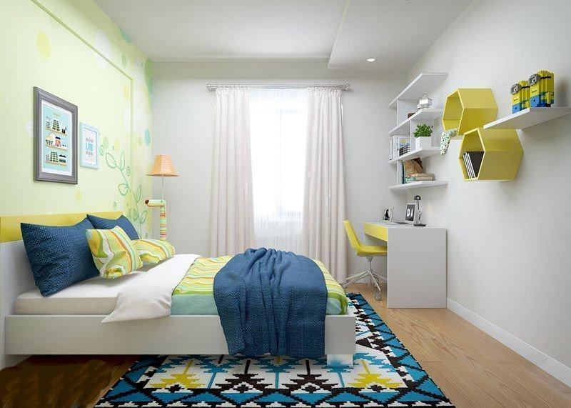 Thiết kế phòng ngủ con trai với gam màu nhẹ nhàng, kích thích trí tưởng tượng sáng tạo
