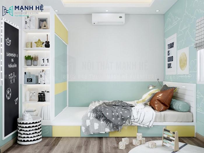 phòng ngủ xanh mint