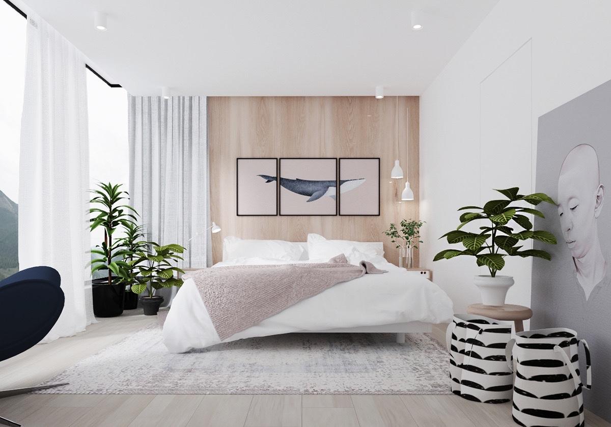 Trang trí một căn phòng màu trắng có nghĩa là chỉ nên chọn một vài yếu tố đặc biệt để thể hiện cá tính của chủ nhân căn phòng. Ở đây, một số tác phẩm nghệ thuật cũng là thứ rất thu hút ánh nhìn.