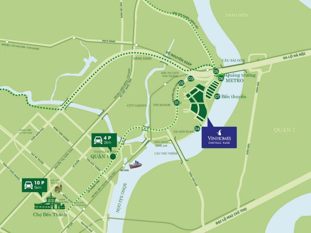 Vị trí dự án vinhomes central park