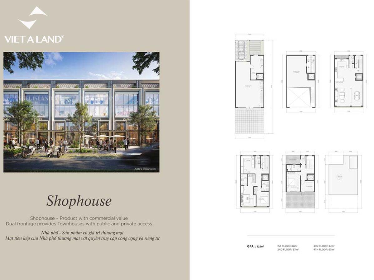 Mặt bằng Shophousse dự án Angel Island
