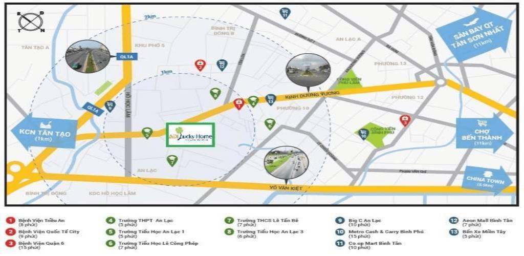 Bản đồ Vị trí dự án Adi Lucky Home