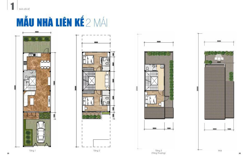 Bản thiết kế nhà 2 mái