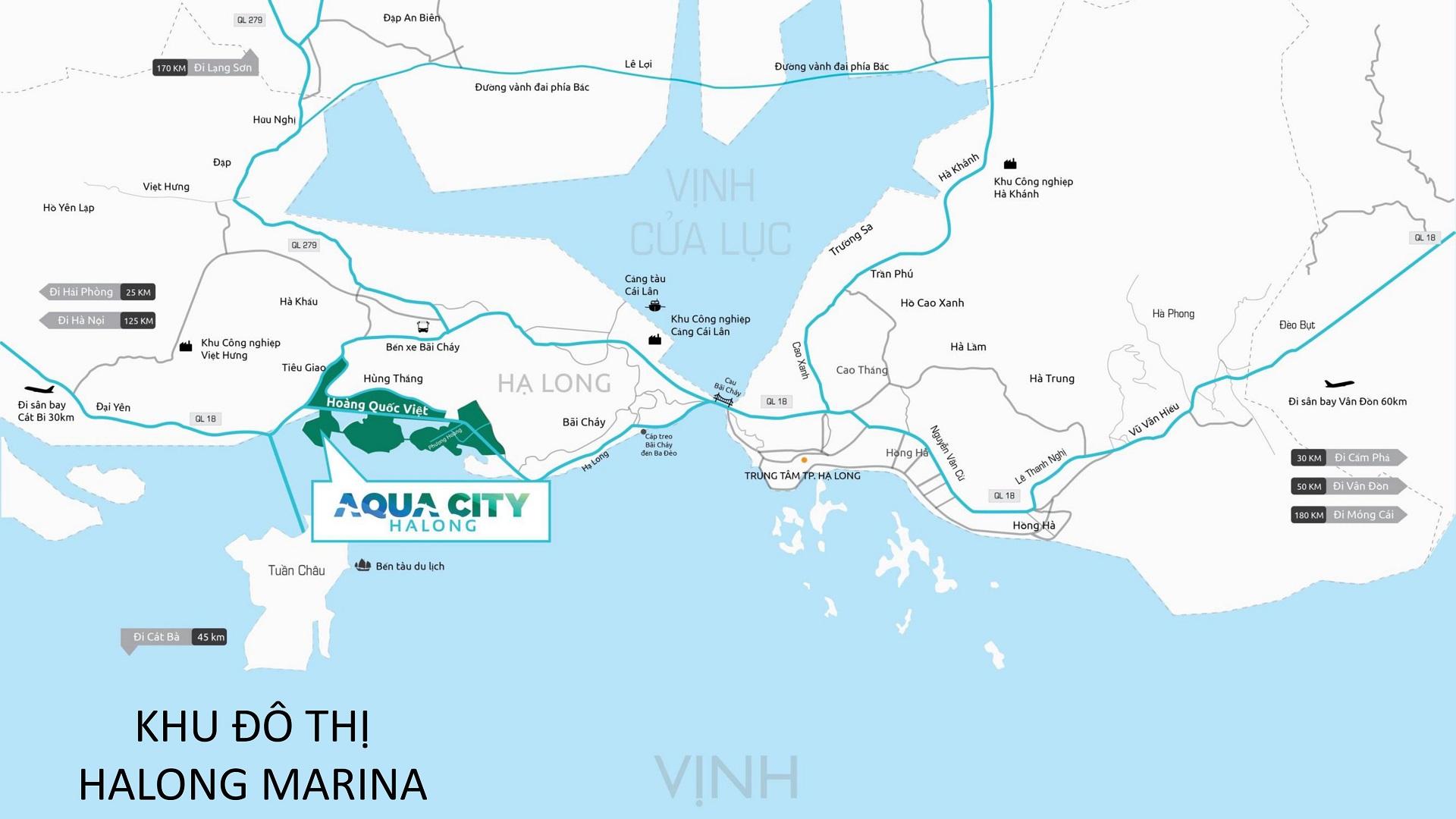 Bản đồ vị trí dự án Aqua City Hạ Long